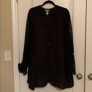 Catherine's Black & Lace Arm Shirt